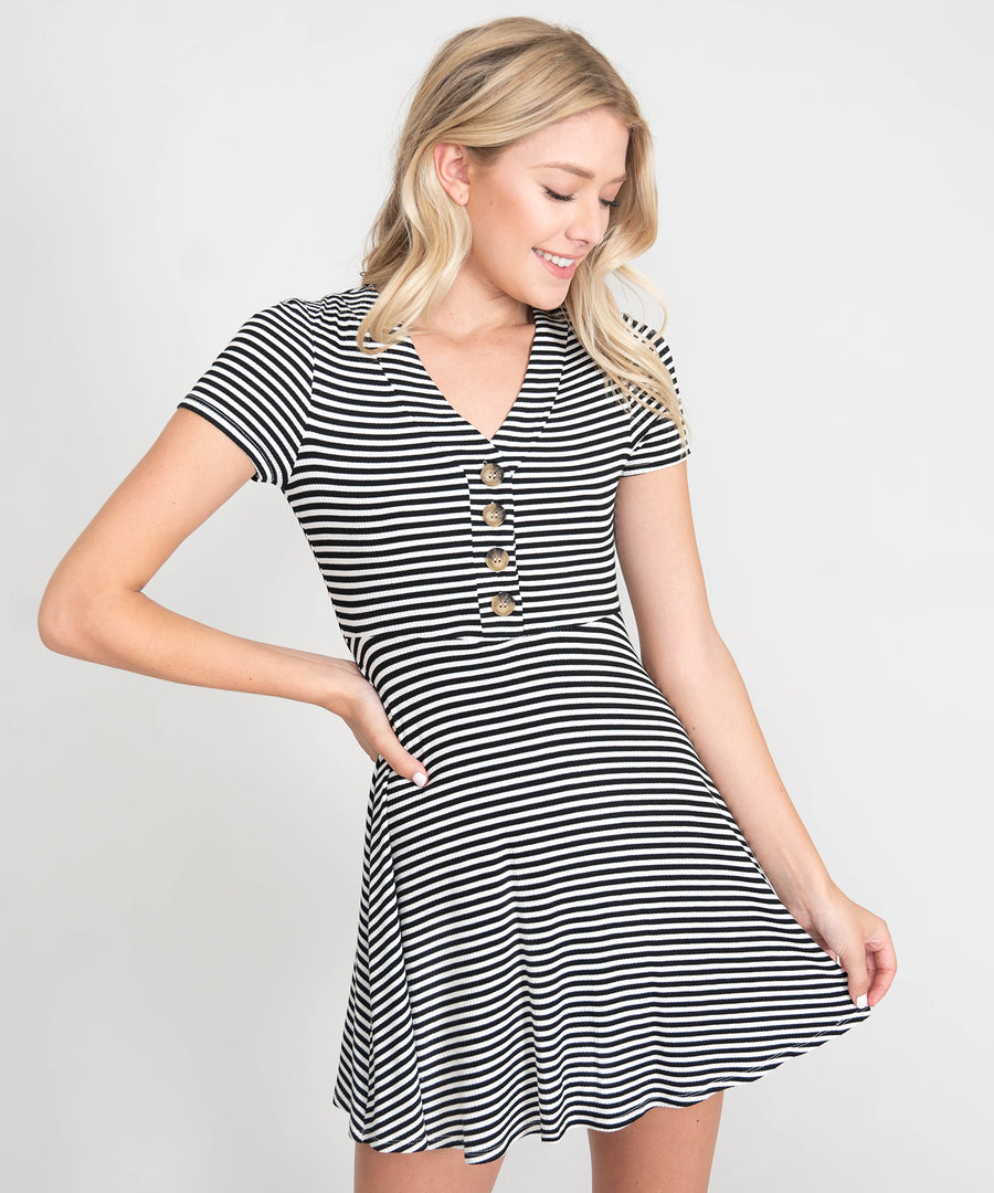 Cute As A Button Skater Dress-Casual Dresses-Speechless