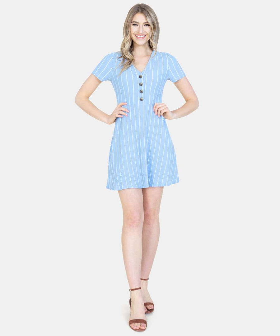 Cute As A Button Skater Dress-Speechless