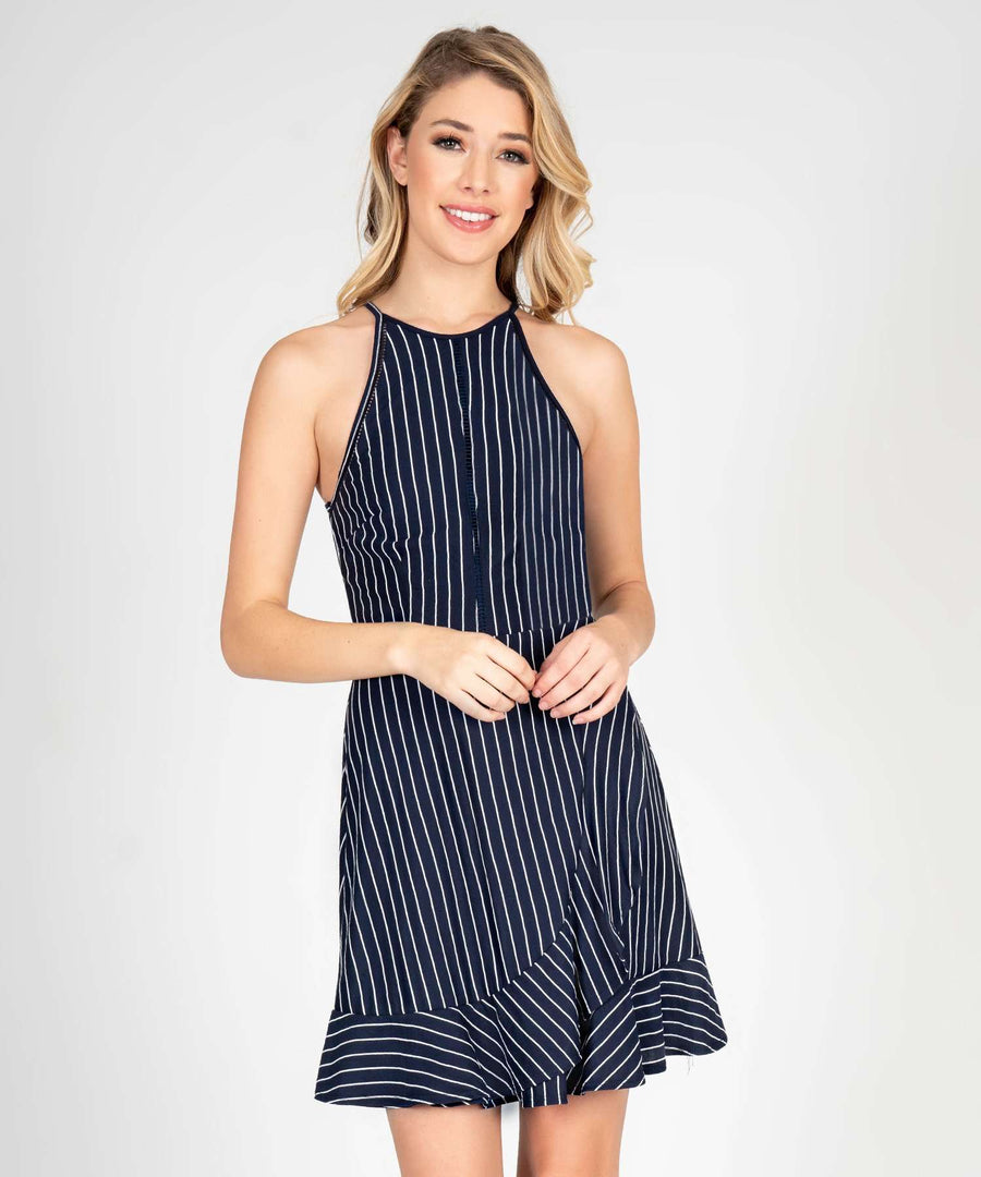 Sure Thing Stripe Ruffle Skater Dress-Speechless.com