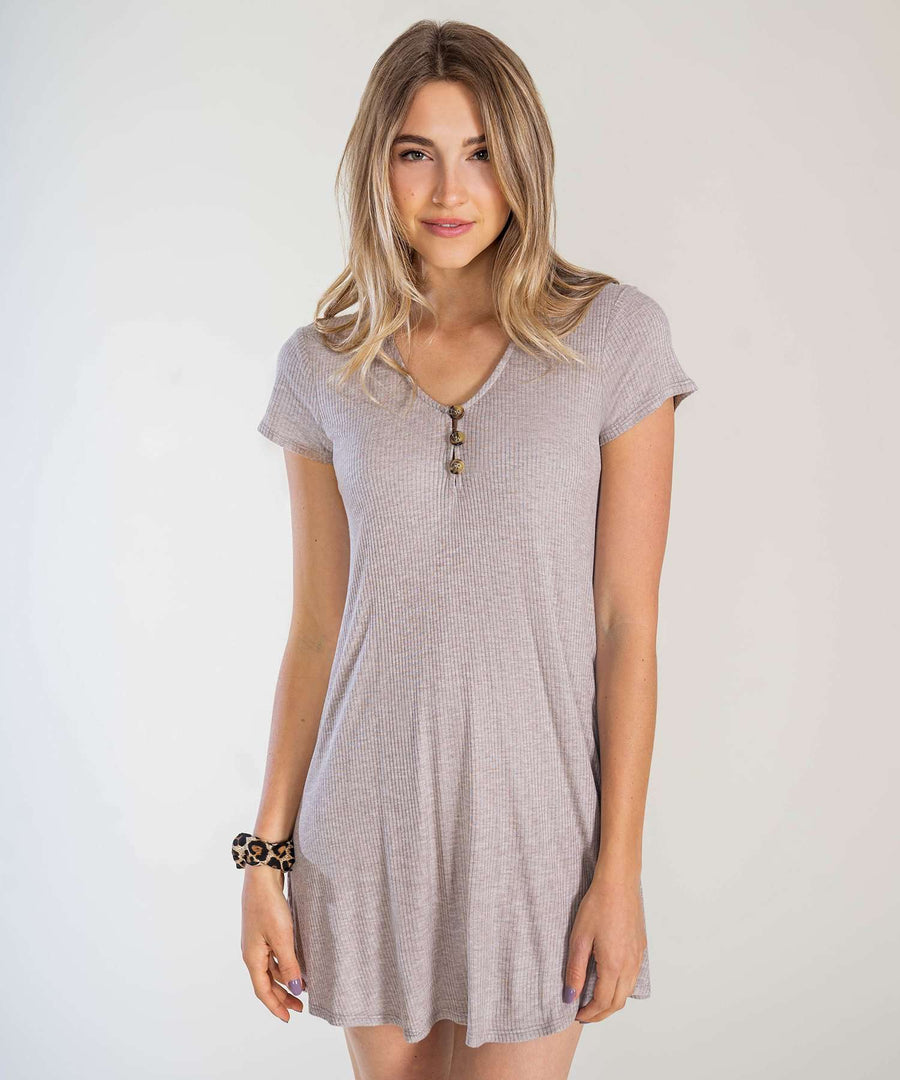 Take It Easy Knit Shift Dress-Casual Dresses-XX SMALL-Light Taupe-Speechless
