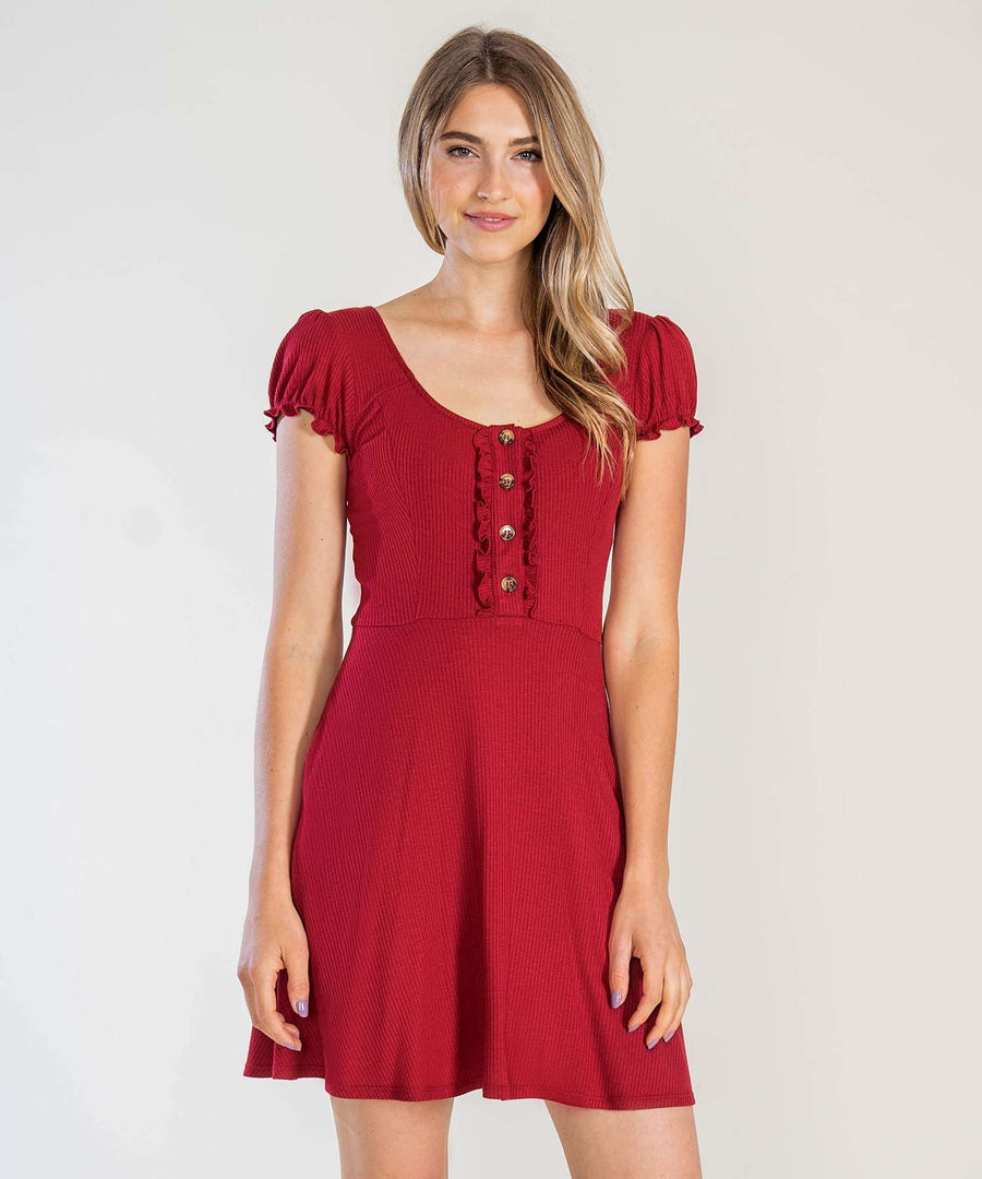 Chianti Button Front Knit Dress-Casual Dresses-Speechless