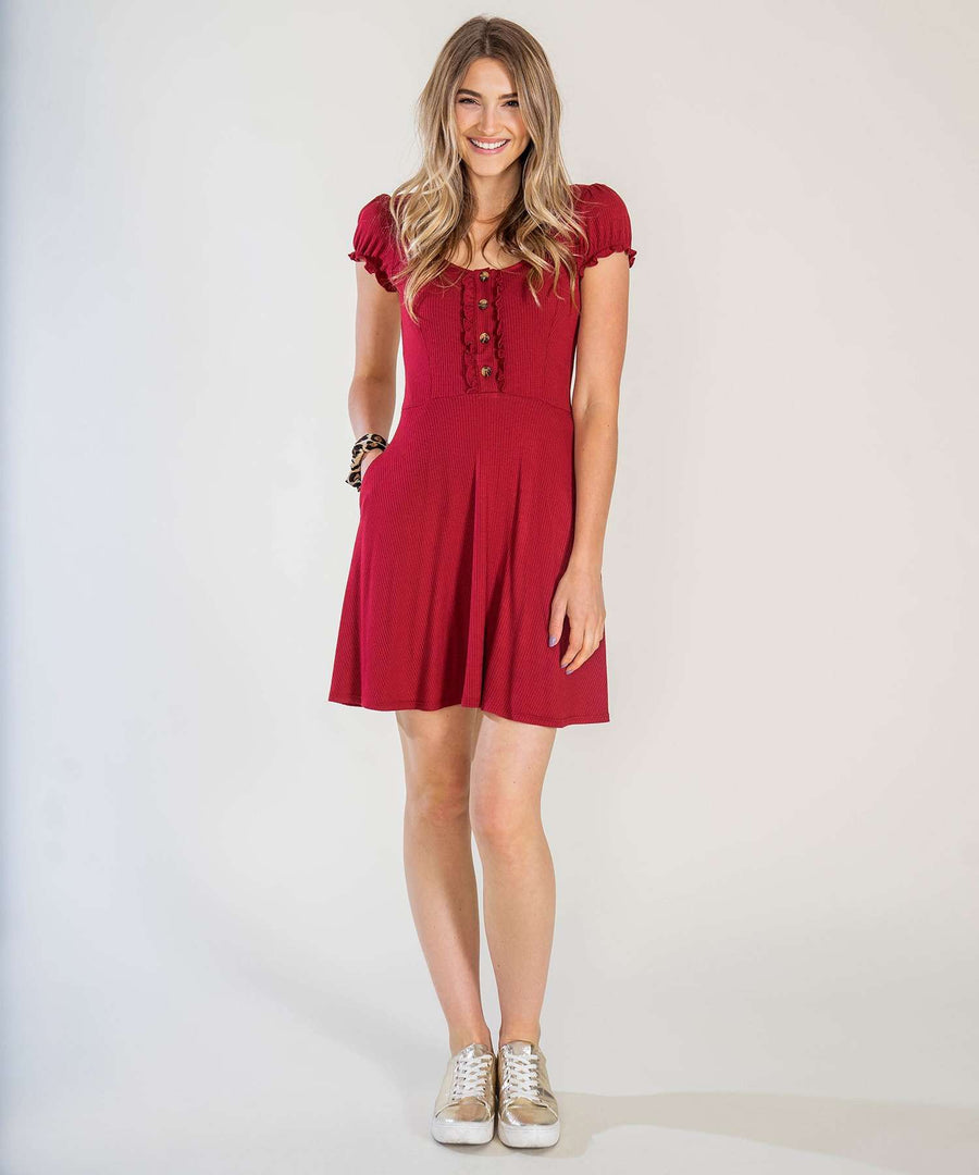 Chianti Button Front Knit Dress-Casual Dresses-XX SMALL-Chianti-Speechless