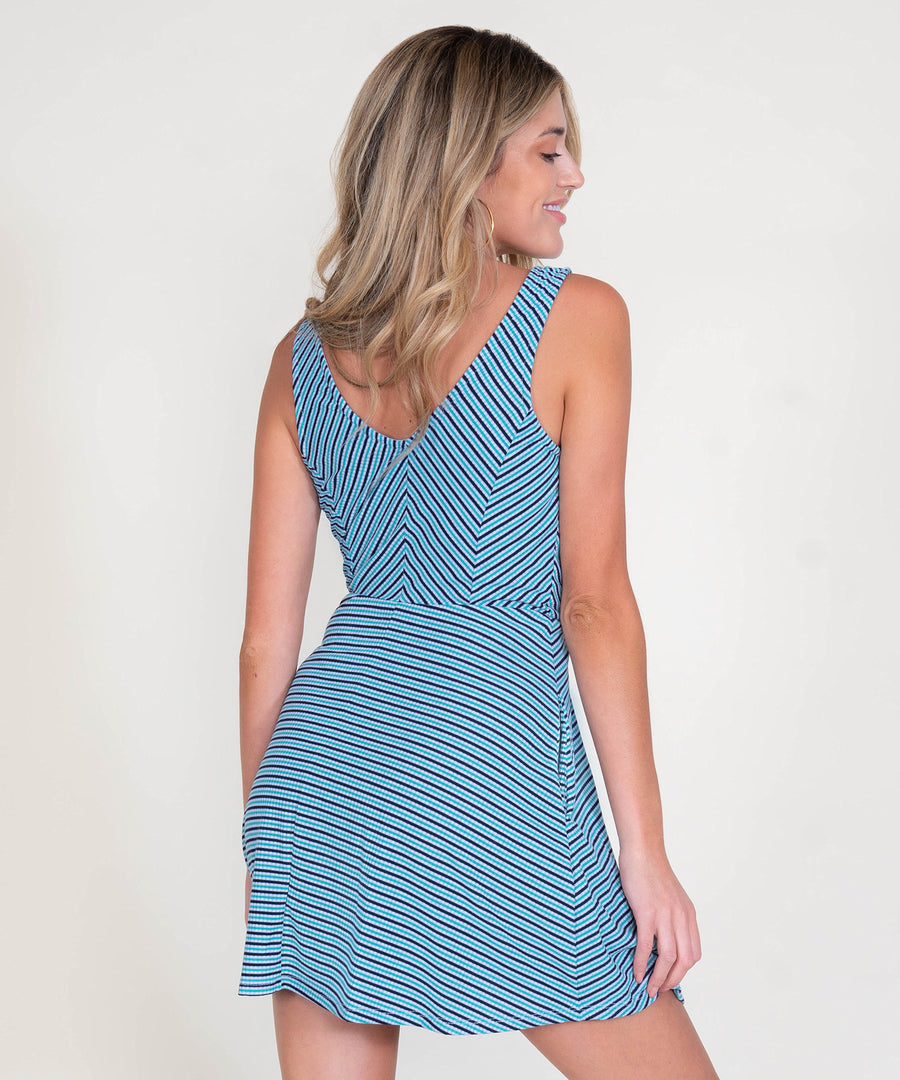 Stripe This Way Surplice Dress-Casual Dresses-Speechless