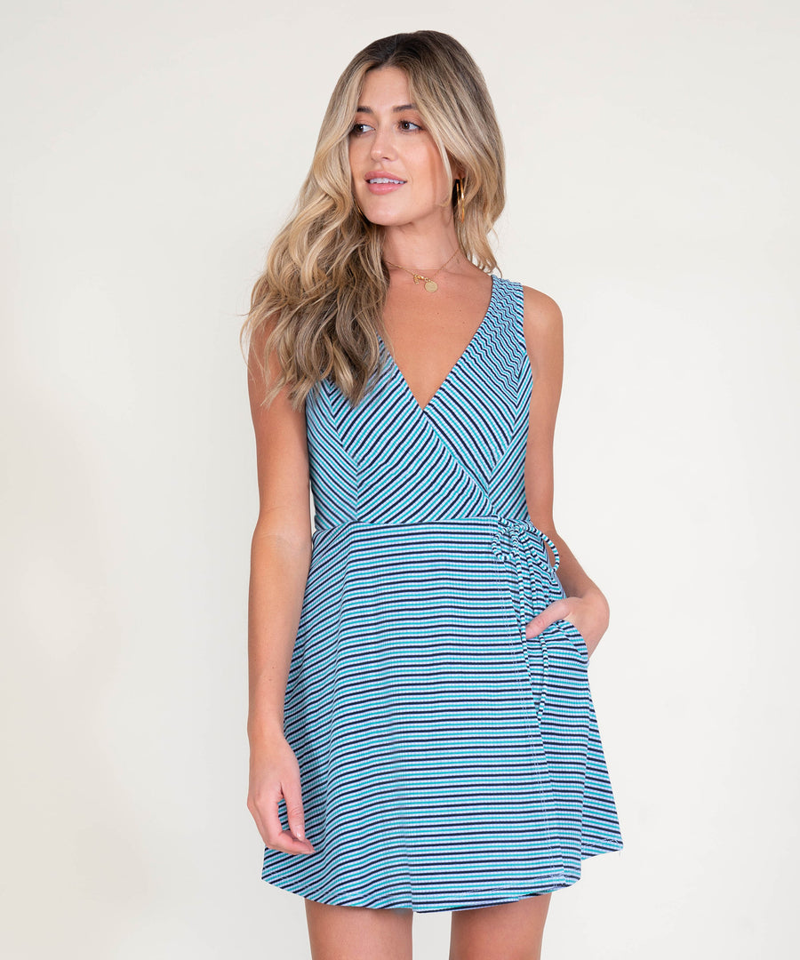 Stripe This Way Surplice Dress-Speechless
