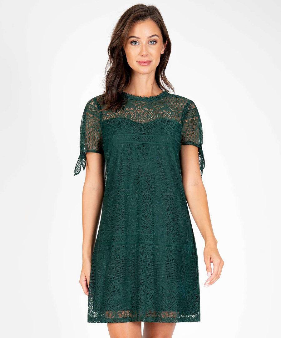 Jane Tie Sleeve Shift Dress-New-XX SMALL-Dark Green-Speechless.com