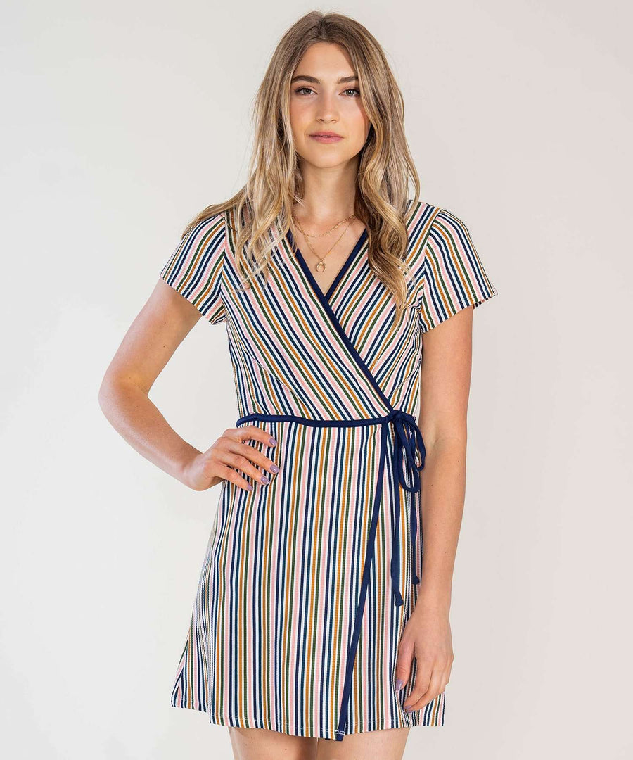That's A Wrap Stripe Knit Dress-Casual Dresses-XX SMALL-Pink/Green-Speechless