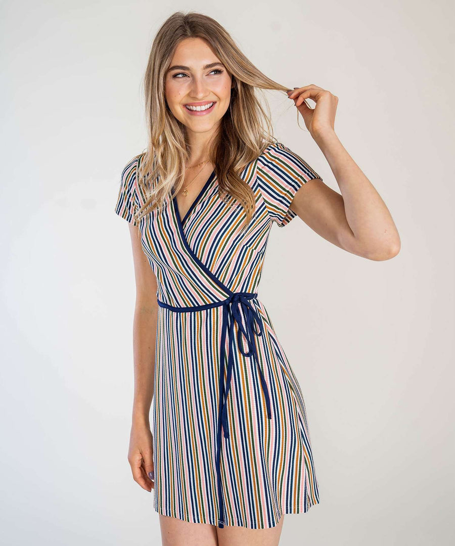 That's A Wrap Stripe Knit Dress-Casual Dresses-Speechless