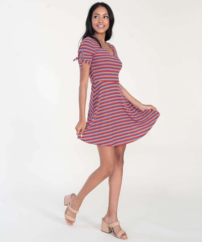 Tori Tie Sleeve Knit Dress-Casual Dresses-XX SMALL-Red/Yellow-Speechless