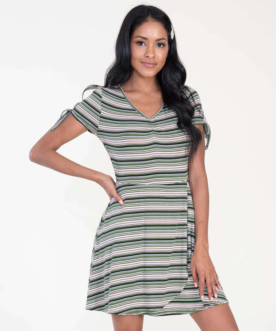 Deena Stripe Wrap Dress-Casual Dresses-XX SMALL-Olive/Pink-Speechless