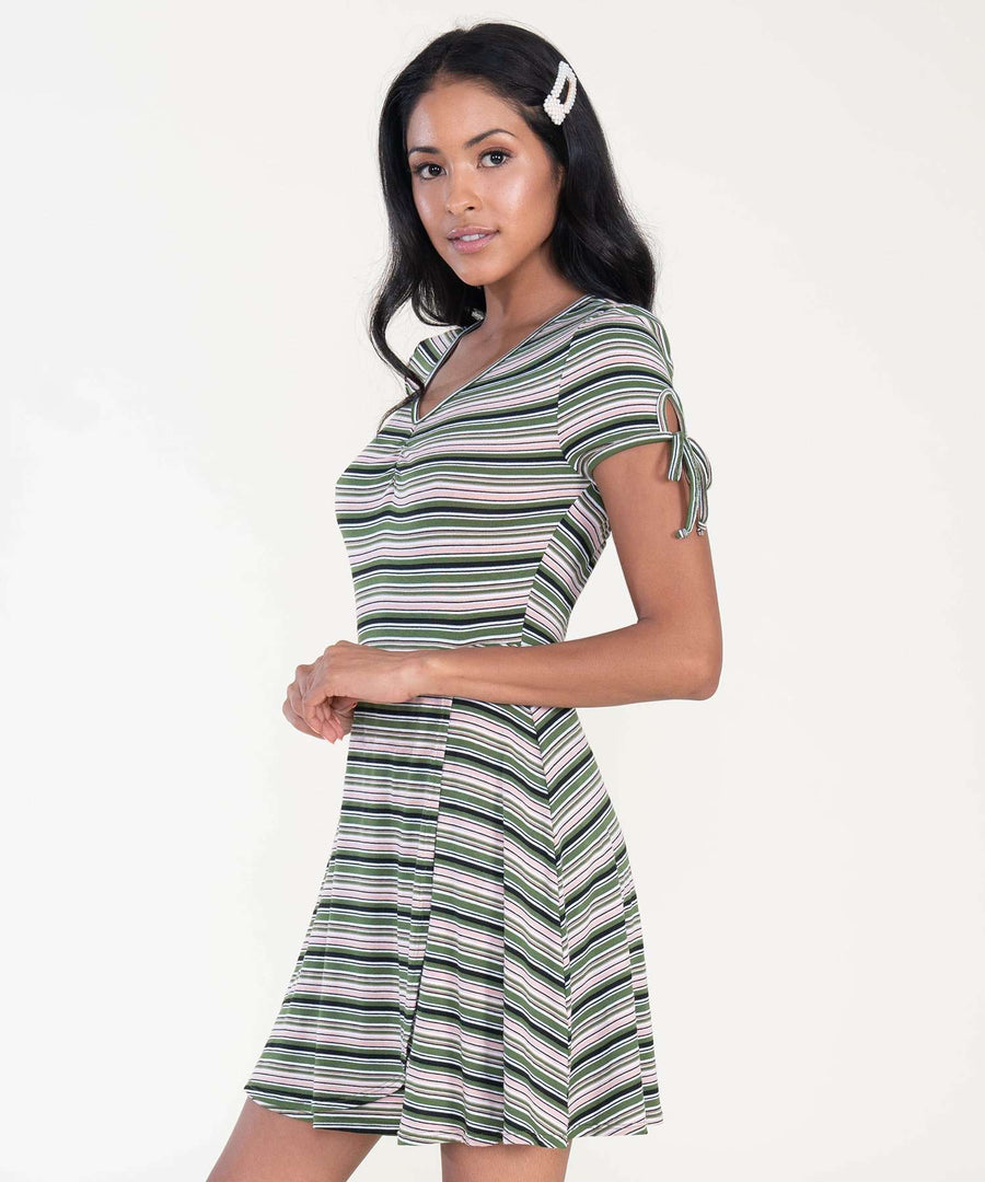 Deena Stripe Wrap Dress-Casual Dresses-Speechless