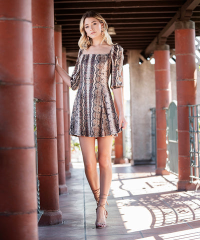 Joslin Snake Print Dress-Casual Dresses-Speechless