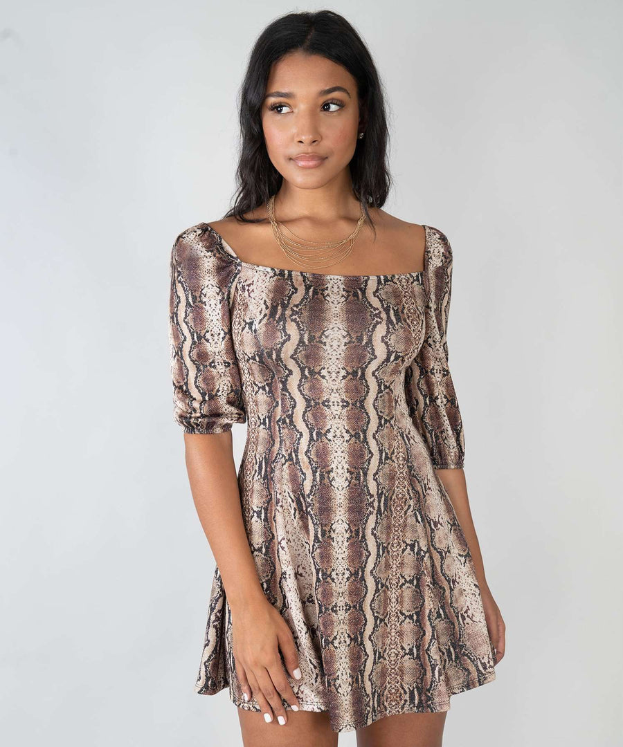 Joslin Snake Print Dress-Casual Dresses-XX SMALL-Camel/Brown-Speechless