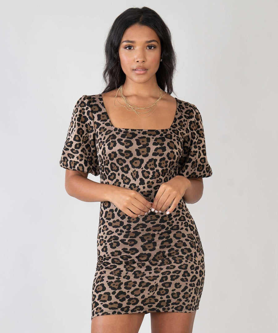 Carolina Animal Bodycon Dress-New-XX SMALL-Tan/Black-Speechless