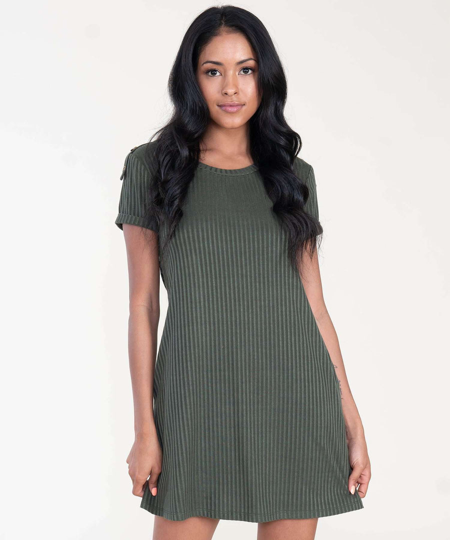 Jules Button Shift Dress-Casual Dresses-XX SMALL-Olive-Speechless