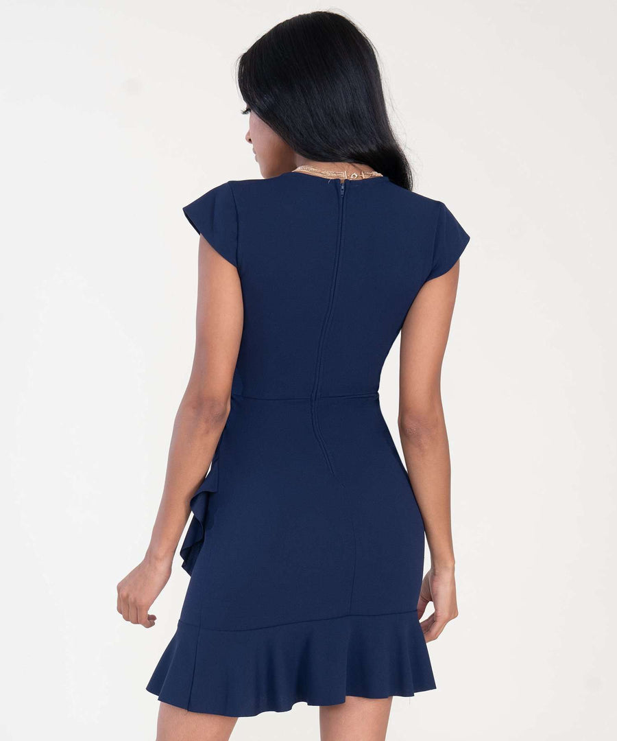 Melanie Asymmetrical Ruffle Dress-Speechless