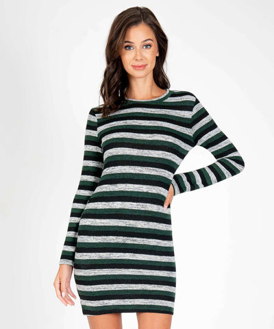 Staying Warm Long Sleeve Sweater Dress-New-XX SMALL-Black/Hunter-Speechless.com