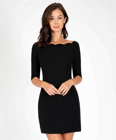 Charleston Scallop Bodycon Dress-New-XX SMALL-Black-Speechless.com