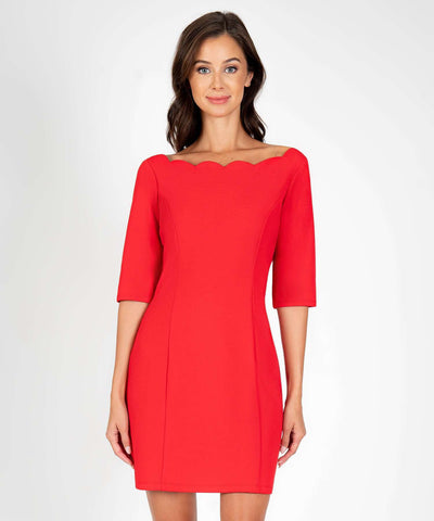 Charleston Scallop Bodycon Dress-New-XX SMALL-Red-Speechless.com