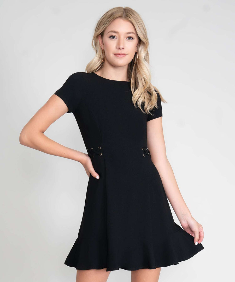 Tina Lace Up Dress-New-XX SMALL-Black-Speechless.com
