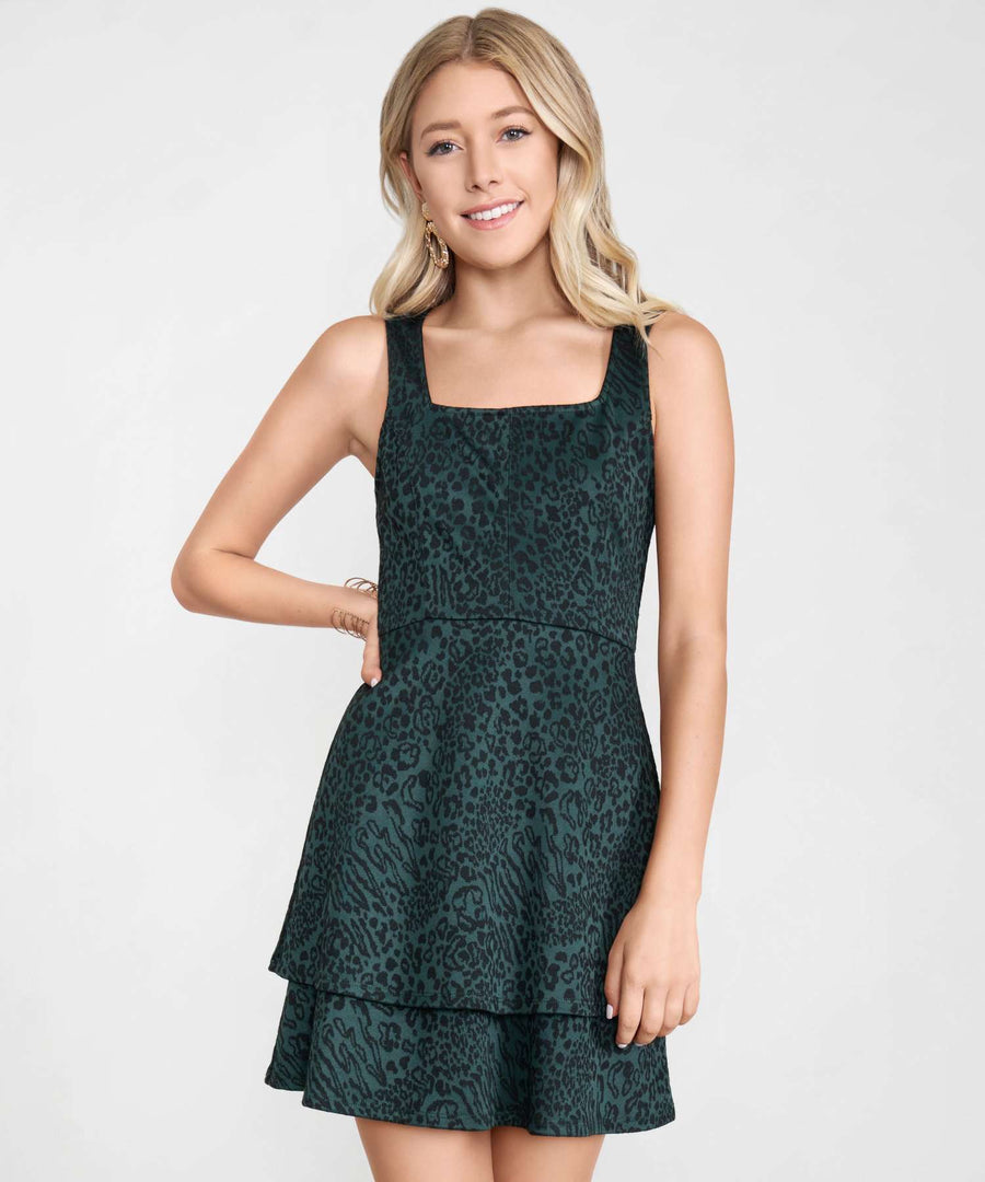 Coco Double Layer Dress-Dressy Dresses-XX SMALL-Hunter/Black-Speechless