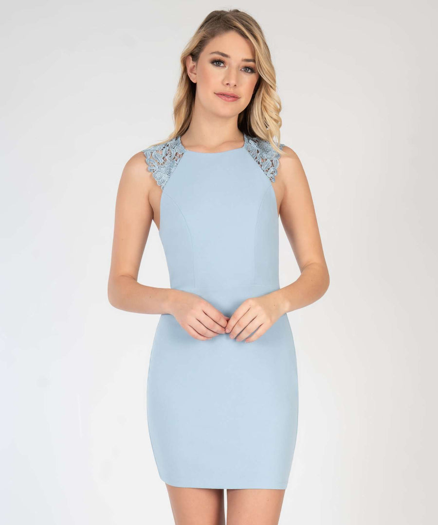 Madeline Lace Bodycon Dress-New-XX SMALL-Powder Blue-Speechless.com