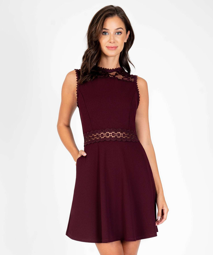 Kira Crochet Skater Dress-New-X SMALL-Oxblood-Speechless.com