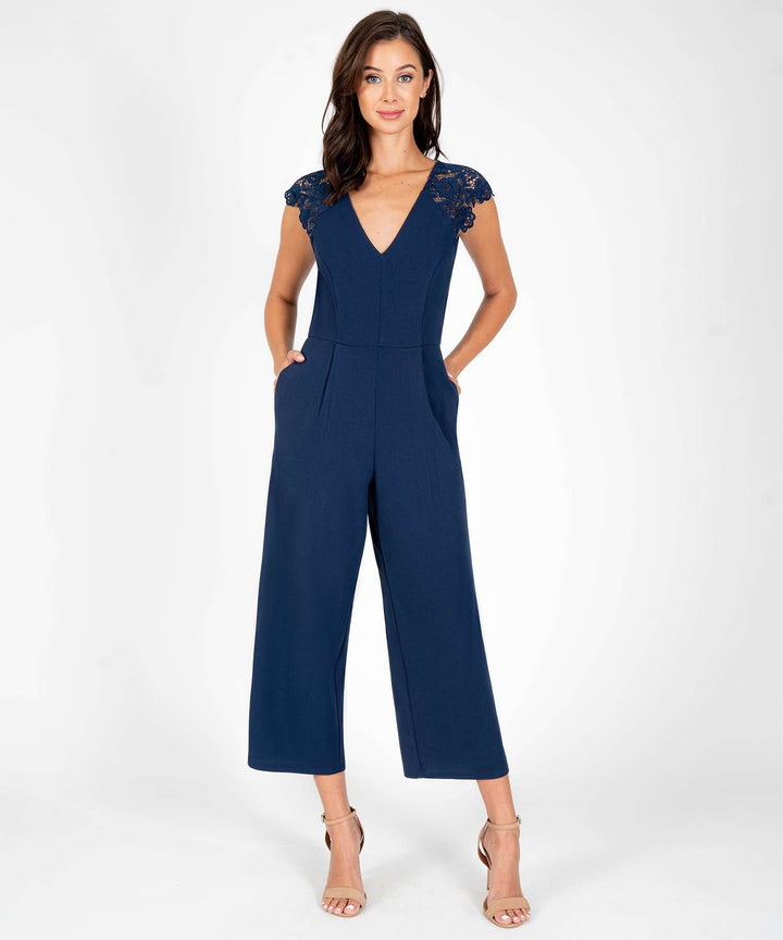 Fluttering Hearts Lace Jumpsuit in Midnight Blue