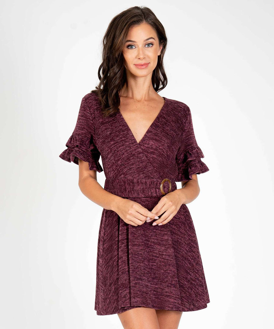 Chicago Ruffle Belted Dress-New-XX SMALL-Burgundy-Speechless.com
