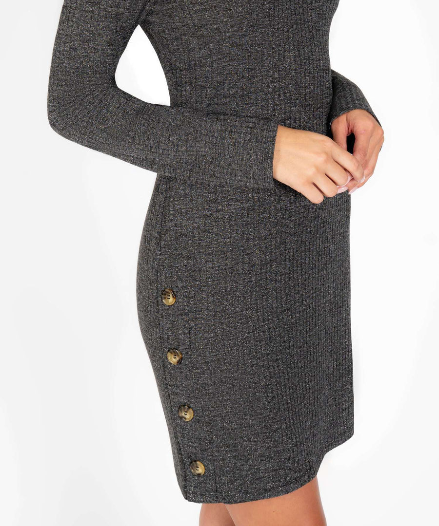 Button Up Buttercup Cowl Neck Sweater Dress-New-Speechless.com