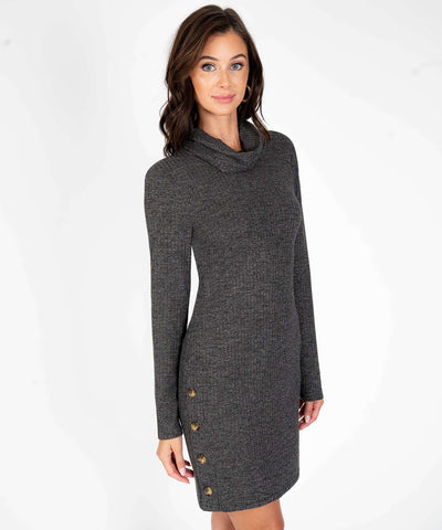 Button Up Buttercup Cowl Neck Sweater Dress-Black-Speechless.com