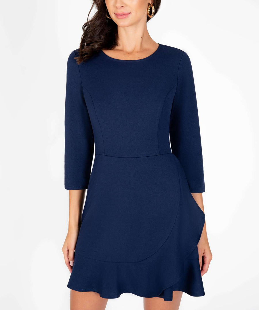 Office Chic Ruffle Wrap Dress-New-Speechless.com