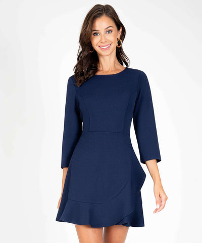 Office Chic Ruffle Wrap Dress