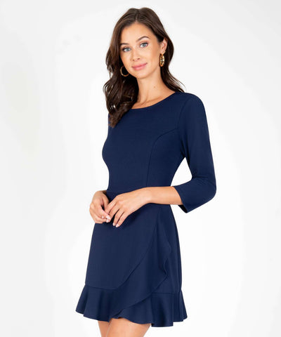 Office Chic Ruffle Wrap Dress-New-XX SMALL-Midnight-Speechless.com
