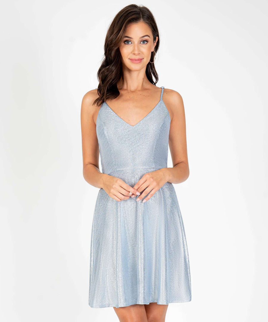 Butterfly Me To The Moon Skater Dress-New-X SMALL-Blue/Silver-Speechless.com