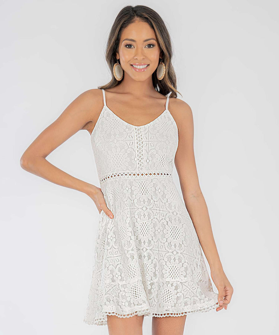 Daisi Lace Skater Dress-Casual Dresses-XX SMALL-Ivory-Speechless.com