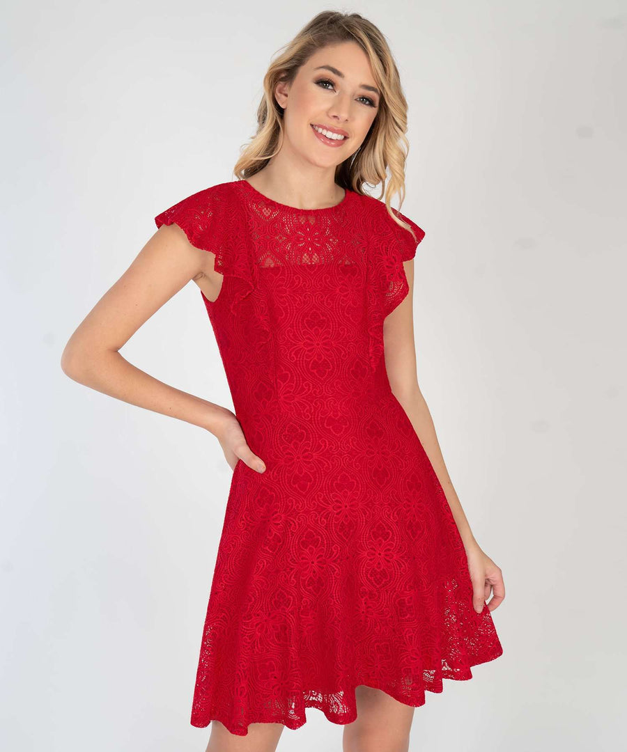 Right Time For Ruffles Dress-New-XX SMALL-Red-Speechless.com