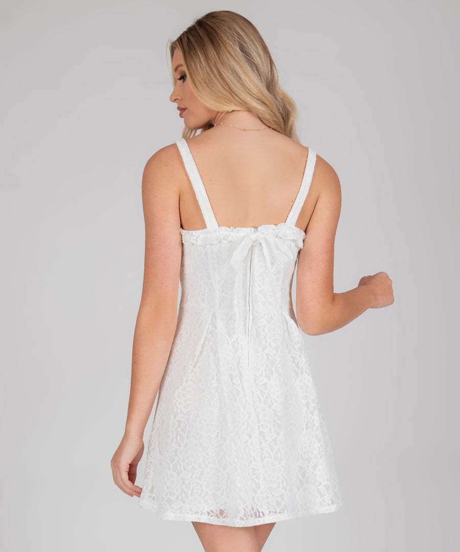 Sweet Escape Lace Bow Back Dress-Casual Dresses-Speechless.com