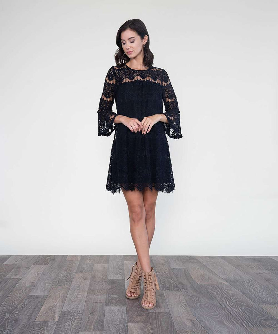 All Day Long Lace Dress-Dressy Dresses-LARGE-BLACK-Speechless