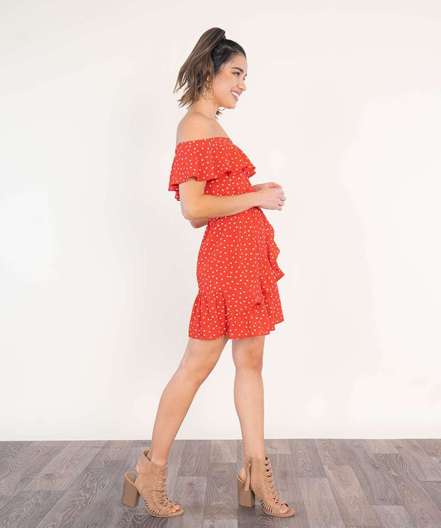 Ruffled Up Off The Shoulder Dress-Casual Dresses-Speechless