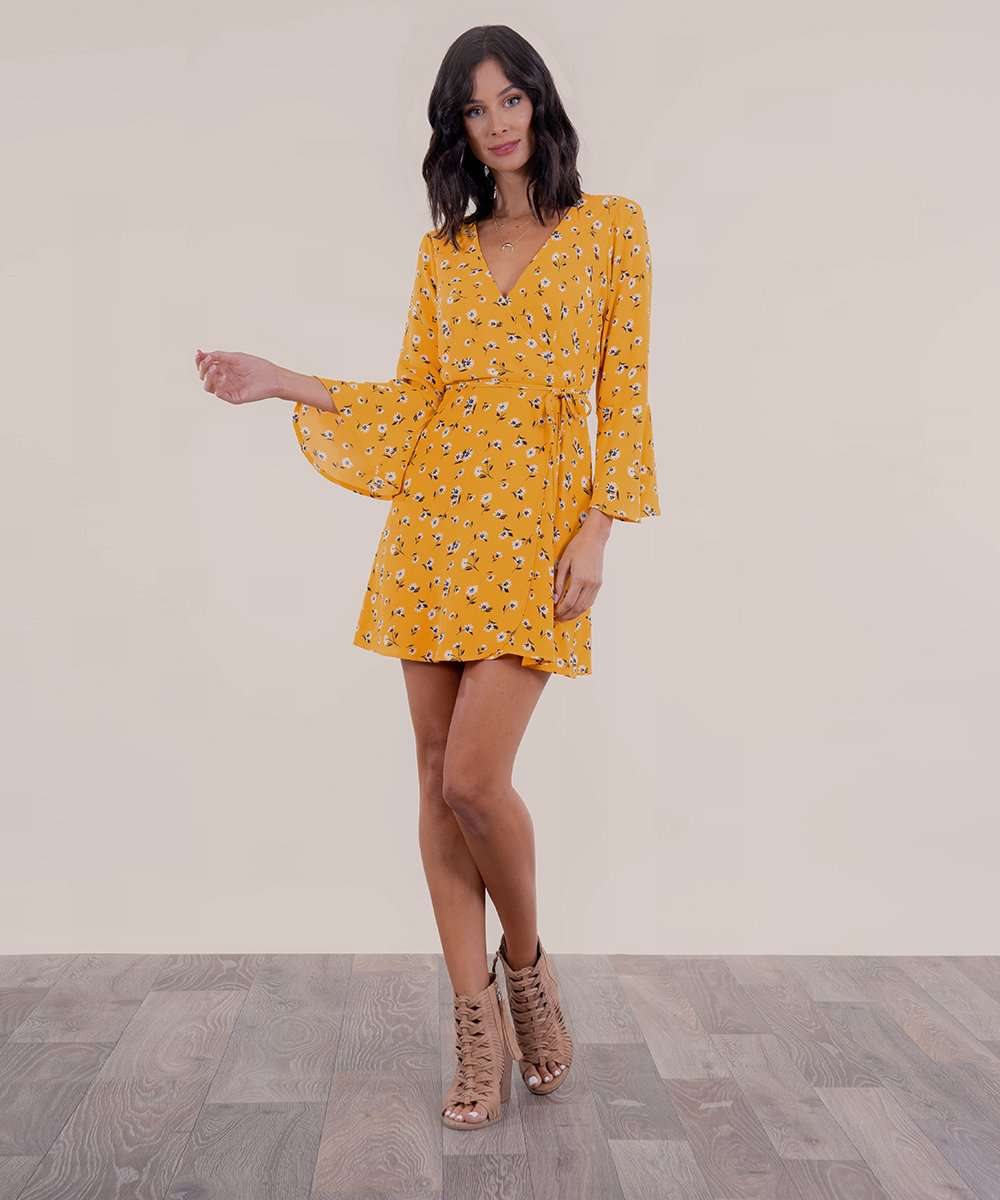 Under Wraps Bell Sleeve Dress-Speechless