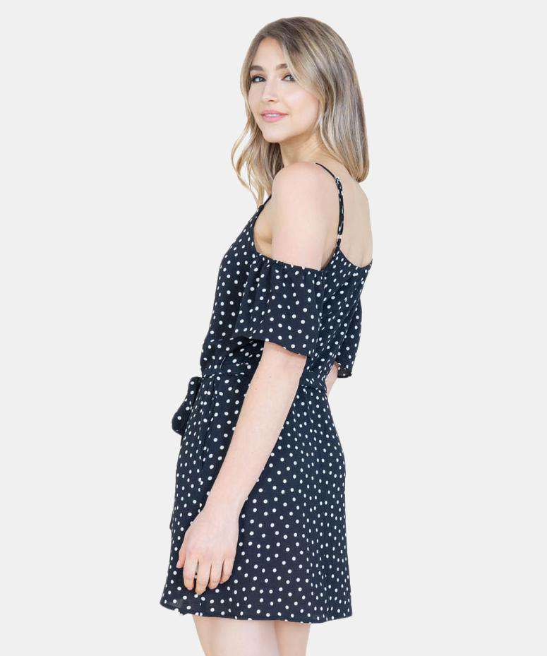 All Buttoned Up Cold Shoulder Trapeze Dress