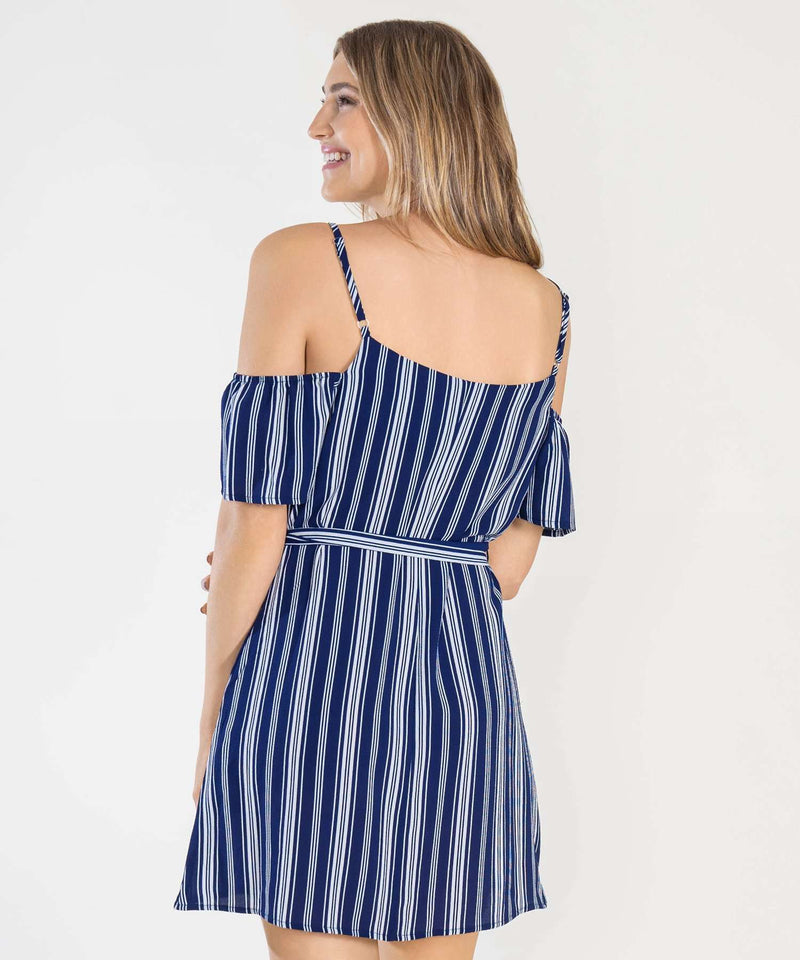 All Buttoned Up Cold Shoulder Dress-Speechless