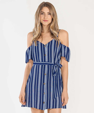 All Buttoned Up Cold Shoulder Dress - Image 2
