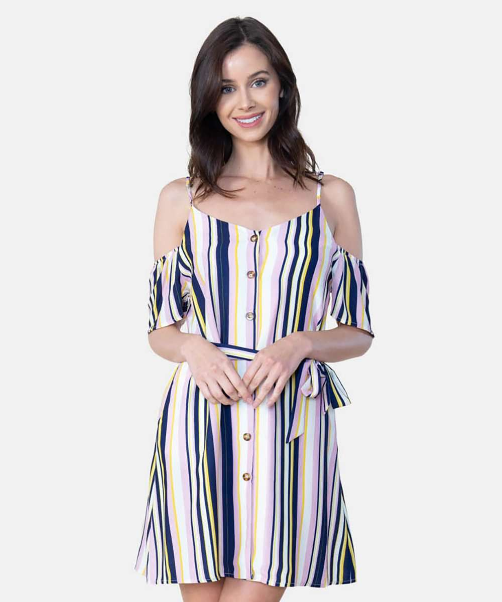 All Buttoned Up Cold Shoulder Trapeze Dress-Speechless