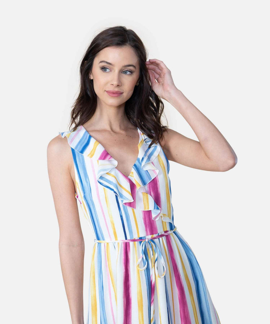 Somewhere Over The Rainbow Stripe Dress-Casual Dresses-Speechless