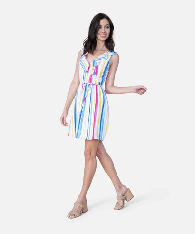 Somewhere Over The Rainbow Stripe Dress-Casual Dresses-X SMALL-Wht/Dnm Blu-Speechless