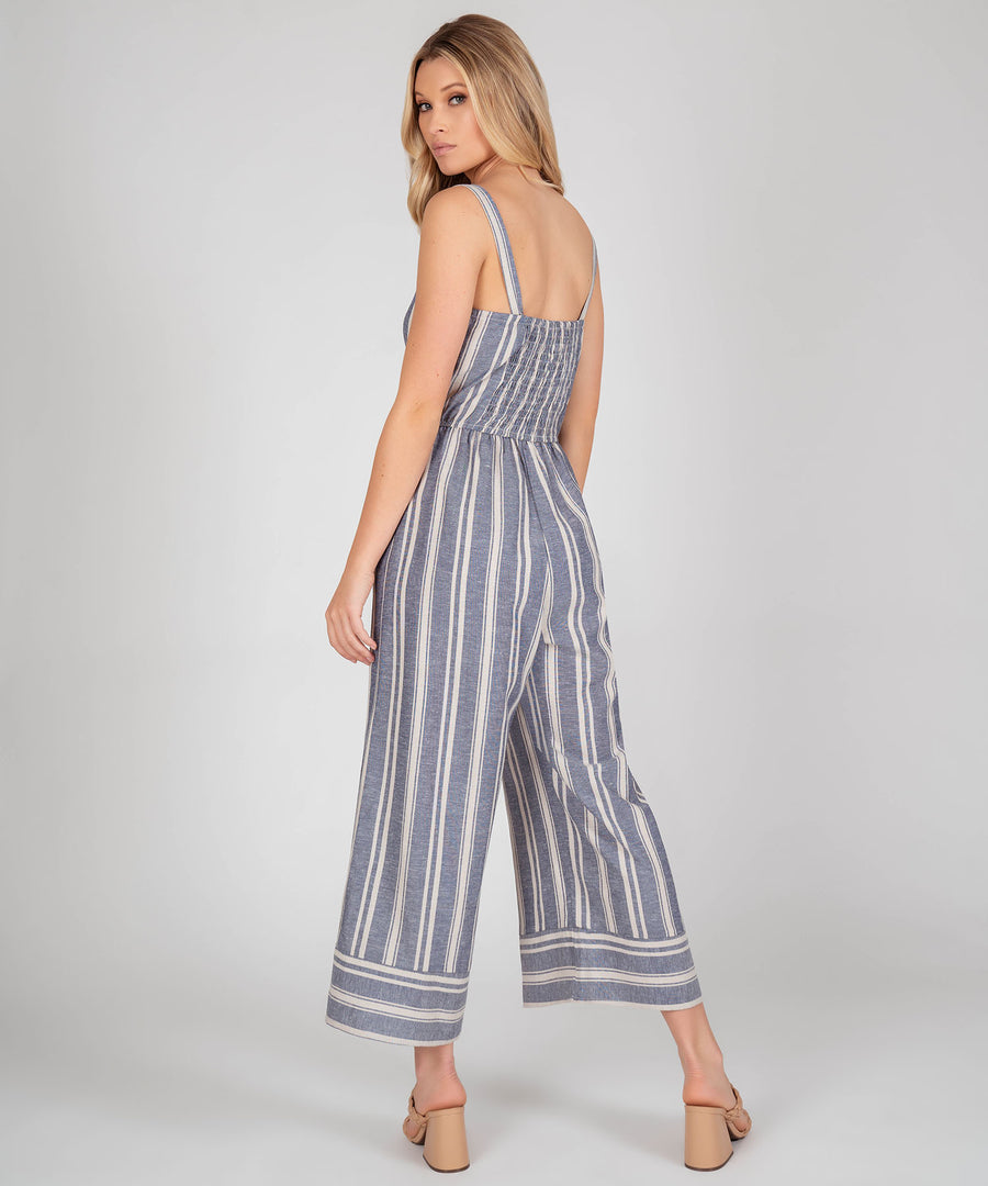 Jacey Stripe Linen Jumpsuit-Speechless.com