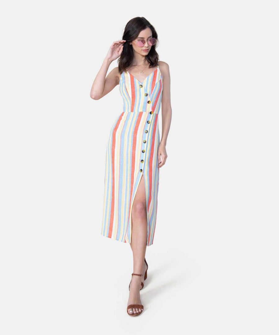 Meet Me In The Middle Midi Dress-Casual Dresses-X SMALL-Orange/Yellow-Speechless