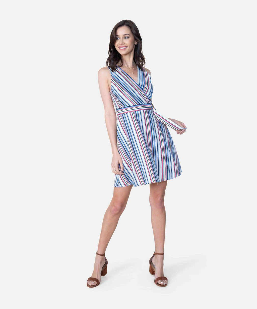 Jess Belted Multi Stripe Dress-Speechless
