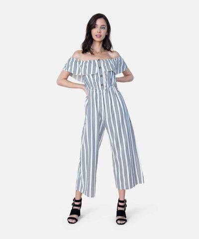 Presley Button Front Jumpsuit-Jumpsuit-X SMALL-Ivory/Navy-Speechless